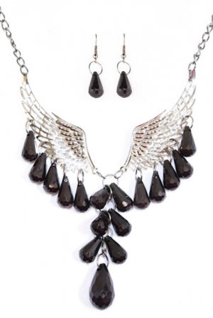 Fashion Angel Wings Beaded Necklace & Earring Set (Black)