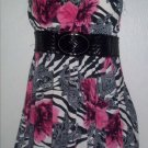 Zebra Print Floral Bubble Mini Dress (Medium)