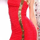 RED STRAPLESS SEQUIN RUCHED SEXY MINI DRESS (large)