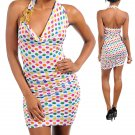 WHITE MULTI DOT CHAIN DECOR RUCHED SEXY HALTER MINI DRESS (small)