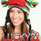 Rainbow monkey knit beanie