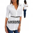 Button Up Cotton Shirt With Belt (White)