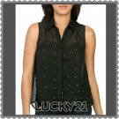 Black Rhinestone High-Low Shirt (medium)