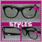 BLACK PINK BOW RETRO CLEAR LENS GLASSES