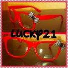 Red Black BOW RETRO CLEAR LENS GLASSES