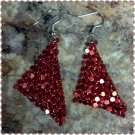 Mesh Dangling Earrings (Red)