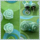 Handmade Mint floral post earrings