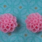Handmade pink floral post earrings