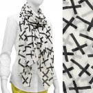 Crinkled Cross Pattern Print Scarf