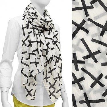 Crinkled Cross Pattern Print Scarf
