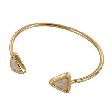 Geometric Triangle End Metal Cuff Bracelet