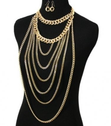 Long Urban Glam Bold Statement Chain Layered in/with Gold Gold 2 Chains