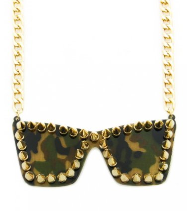 ART OF WAR CAMO SPIKED SUNGLASSES NECKLACE