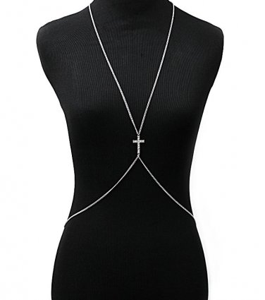 Body Chains Urban Glam Crystal Metal Chain Theme Cross in/with Clear Rhodium