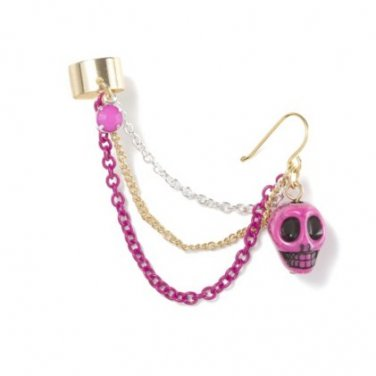 Pink Skull Ear Cuff