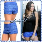 Blue Lace Scallop Shorts (small)