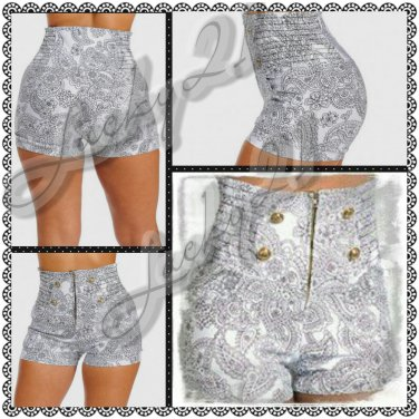 Paisley print High waist shorts (large)