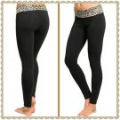 Fold Brown Leopard waist yoga pant (large)