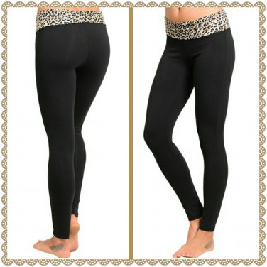 Fold Brown Leopard waist yoga pant (medium)