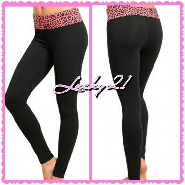 Fold Pink Leopard waist yoga pant (small)