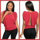 Cute Deep Red Open Back Top (large)