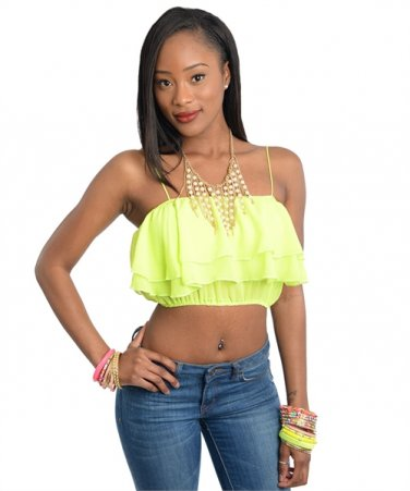 Neon Yellow Sphagetti Strap Wavy Crop Top (small)