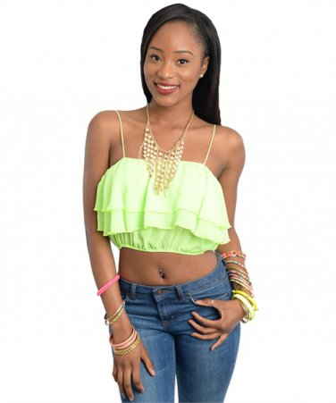 Lime Sphagetti Strap Wavy Crop Top (large)