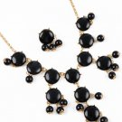 Black Bubble Bib Statement Necklace