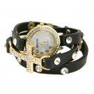 Cross Wrap Watch (Black)