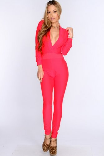 Long Sleeve Bodycon Jumpsuit (Small)