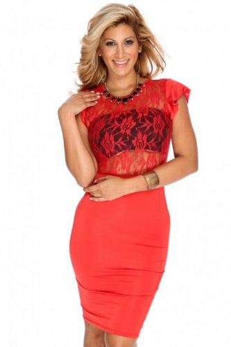 Red Lace Bodycon Dress (Small)