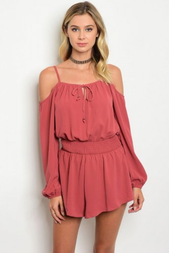 Dream Weaver---Cold Shoulder Short Romper (Large)