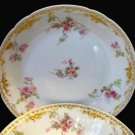 2 Haviland GDA Limoges Roses & Gold Soup Bowls