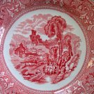 Antique Burslem Red Transferware Plate Edge Malkin