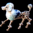 Vtg Sterling Enamel Marcasite Brooch Poodle Dog Germany