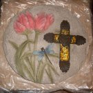 Mosaic Cross with Tulips Stepping Stone Garden Yard Decor NEW