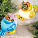 Pair of Feeding Birds Planters Pots NEW