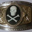 SILVERTONE GOLDTONE BLACK WHITE SKULL BONE Belt Buckle