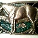 silvertone horse horses horseshoe belt buckle western