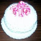 NEW 0 -3 mos BABY Crocheted soft white & varigated pink awareness breast feeding boobie boob hat