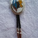 vintage updated silver tone indian head dress western dance bolo bola tie free usa shipping