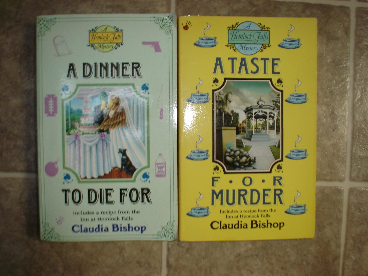 Claudia Bishop lot of 2 pb cozy mystery books Hemlock Falls Berkley Prime Crime
