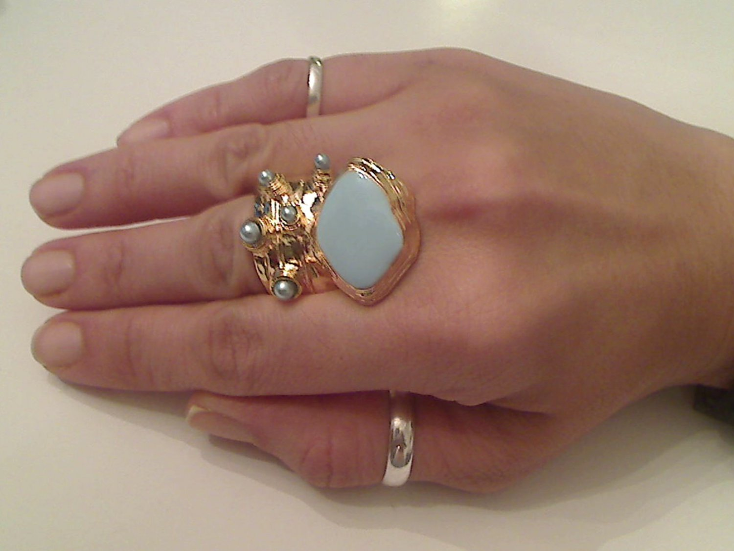 BABY BLUE ARTY CHUNKY SPIKEY KNUCKLE RING IN GOLD
