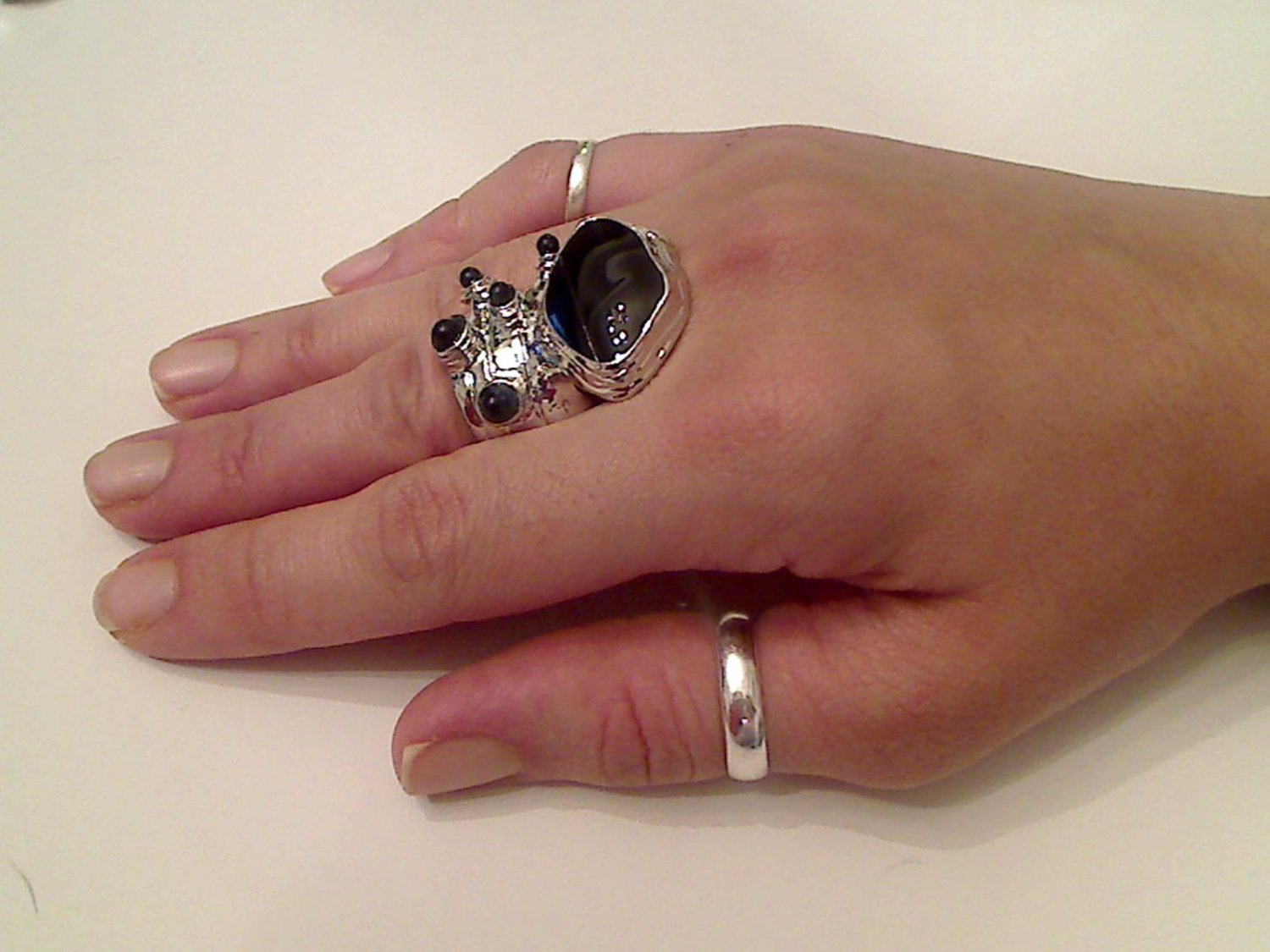 BLACK ARTY CHUNKY SPIKEY MOON KNUCKLE RING IN SILVER SIZES 7*8*9*10