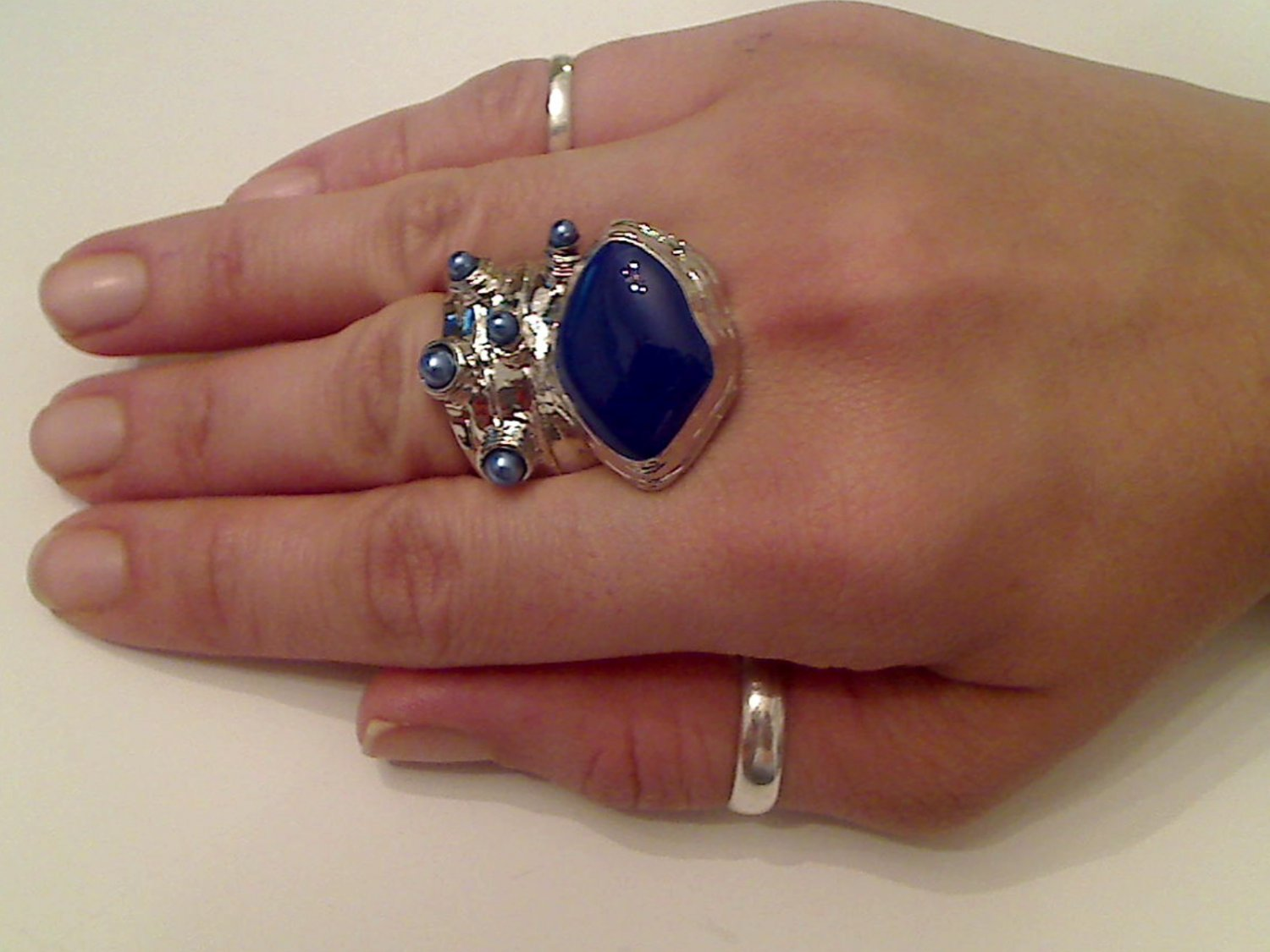 BLUE ARTY CHUNKY SPIKEY MOON KNUCKLE RING IN SILVER SIZES 7*8*9*10