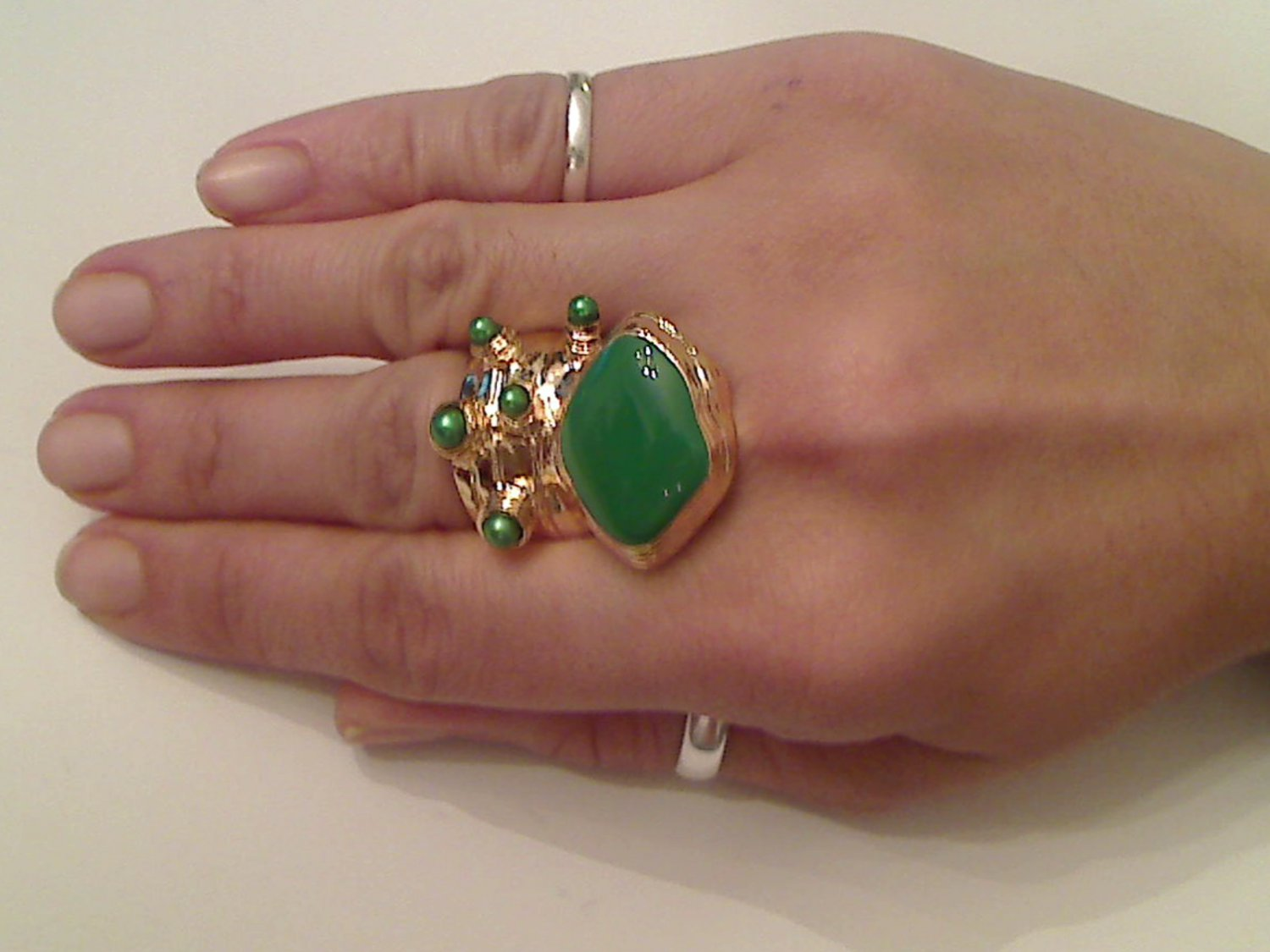 GREEN ARTY CHUNKY SPIKEY MOON KNUCKLE RING IN GOLD SIZES 7*8*9*10
