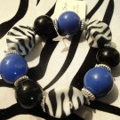 NEW NAVY BLUE ZEBRA PRINT CHUNKY BEAD STRETCH BRACELET