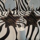 Brown Zebra Print Star Earrings With Matching Studs.