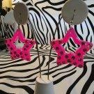 Pink Star Earrings With Pink Rhinestones