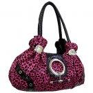 Fuschia Leapord Satchel Handbag